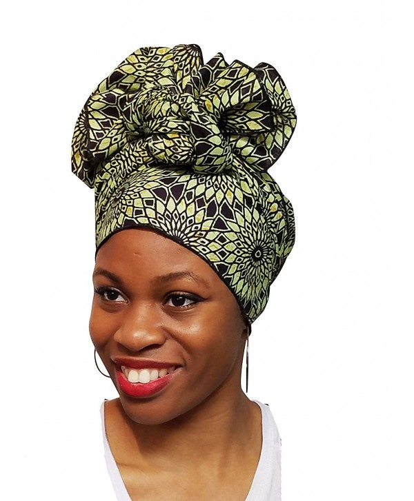 Light Green African Print Ankara Head wrap- Tie- scarf- Multicolor- One Size - CM12O0S4H6U