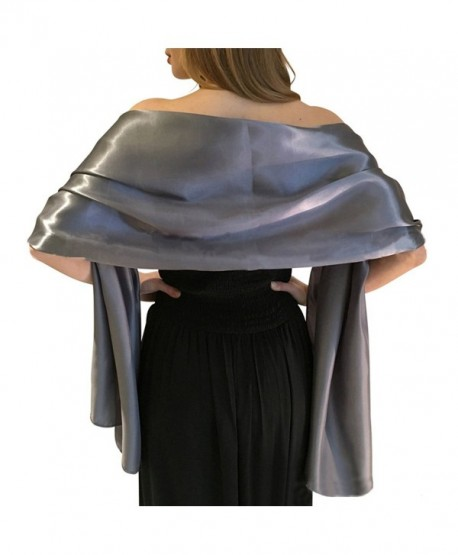 LANSITINA Women's Solid Color Satin Shawl Wraps for Evening Dress/Wedding Party - Gray - CC183ODUDOZ