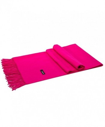 Kuayang Pashmina Scarf Cashmere Scarves for Women Mens Winter Shawls and Wraps - Rose Red - CV188Q797HX
