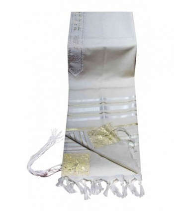 "100% Wool Tallit Prayer Shawl in White and Gold Stripes Size 24"" L X 72"" W - CL11224JBIB"