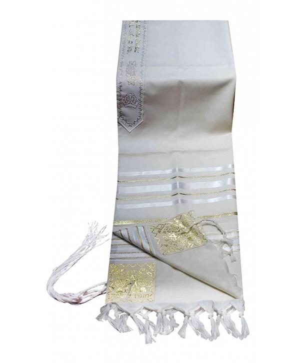 """100% Wool Tallit Prayer Shawl in White and Gold Stripes Size 24"""" L X 72"""" W - CL11224JBIB"""