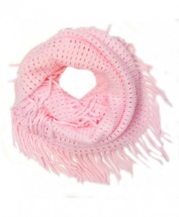Wrapables Soft Crochet Infinity Scarf with Tassel Trim - Cotton Candy - C511IOYRZLN