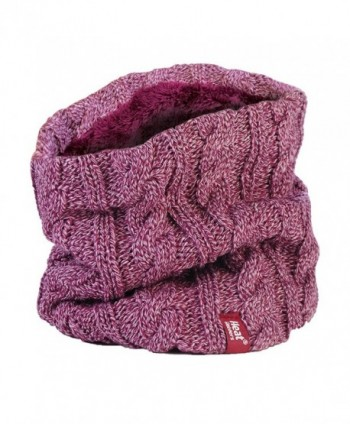 Women's Heat Holders Thermal 3.4 tog Fleece Cable knit Snood Scarf Neck Warmer - Rose - CB12BW2K0Y7