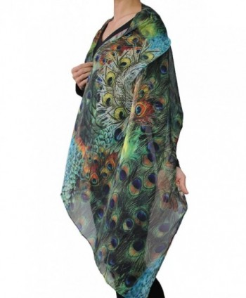Seamaidmm Fashion Peacock Feather Chiffon in Fashion Scarves