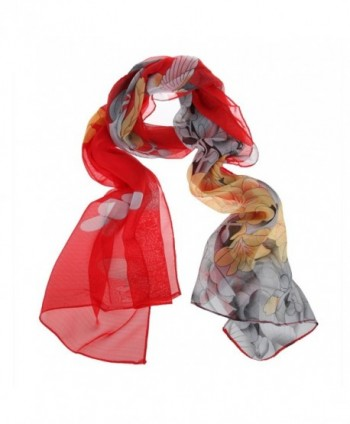 ChikaMika Fashion Silk Scarves for Women Girls Long Chiffon Scarves Floral Wrap and Shawls - CA123GUG88F