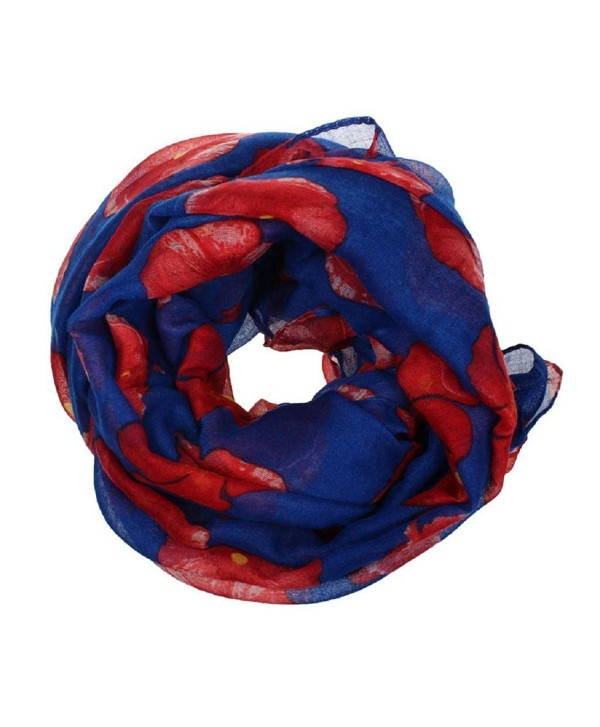 Willsa Fashion Red Poppy Print Long Scarf Flower Beach Wrap Ladies Stole Shawl - Blue - CP1858E20NU