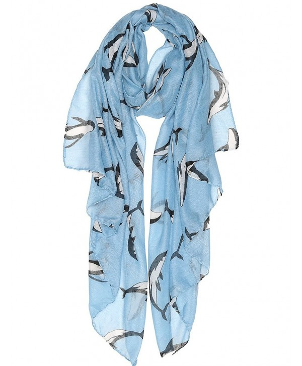 Lightweight Fashion Scarves for Women Floral Spring Scarves Animal Scarfs for All Seasons - Dolphin Blue - C81807N9ELC