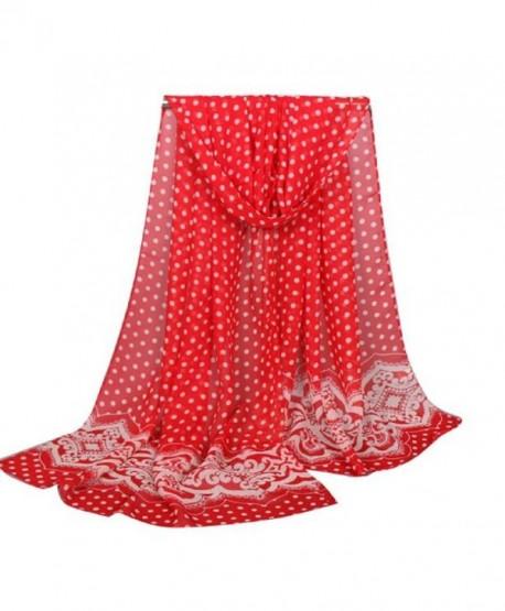Rukiwa Dot Scarf- Fashion Women Long Soft Wrap Scarf Ladies Shawl Chiffon Scarves - Red - CG12MALPCVR