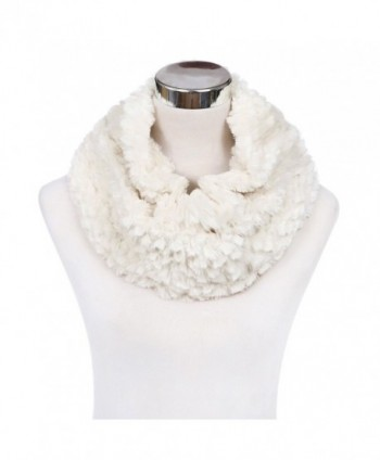 Soft Small Faux Fur Diamond Solid Color Warm Infinity Circle Scarf -Diff Colors - Cream - CK127X9OTMH