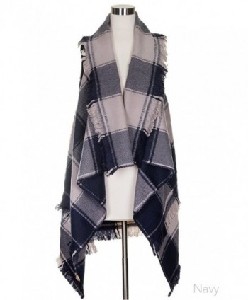 ScarvesMe Women's Soft Vintage Plaid Checker Color Block Vest Cardigan - Navy - C5185RXEGG3
