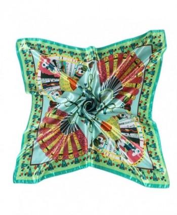"""CS&BEAUTY Women's Neckerchief 35""""X35"""" Fan Pattern Square Scarf Headdress - Green - CQ12O0K3JSH"""