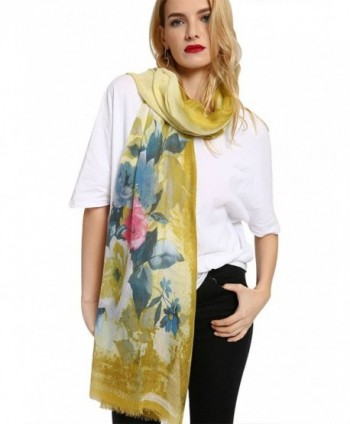 GERINLY Summer Scarfs Rosa Chinensis Print Beach Wrap Womens Travel Shawls - Yellow - CJ18C3TL4NG
