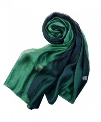 SNUG STAR Cotton Silk Scarf Elegant Soft Wraps Color Shade Scarves for Women - Dark Green - CM12N5R9SJE