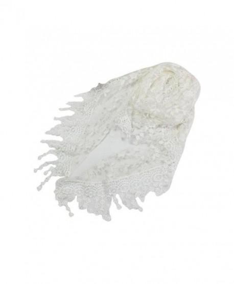 Singleluci Fashion Lace Tassel Scarf Burntout Floral Triangle Mantilla Shawl - White - C312O2MXN93