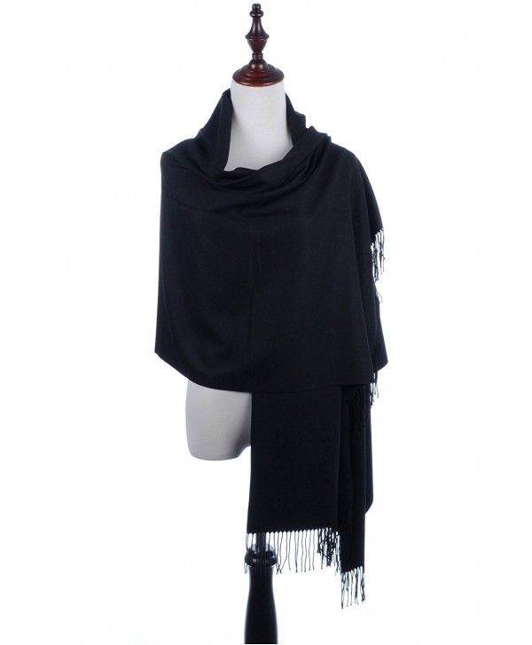 BYOS Versatile Oversized Soft Cashmere Shawl Scarf Travel Wrap Blanket W/ Tassels- Many Colors - Black - C5186H496UN
