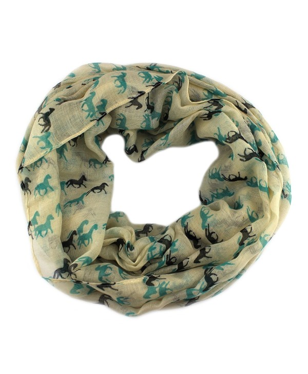 PendantScarf Women's Fashion Animal Horse Print Loop Ring Infinity Scarf - Ivory - CQ128LQE9BH