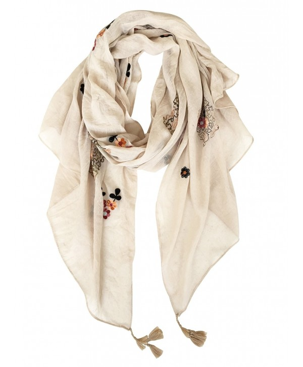 GERINLY Scarves - Fragrant Flowers Embroidery Shawl Wrap Party Gift - Beige - CD180C5IRW0
