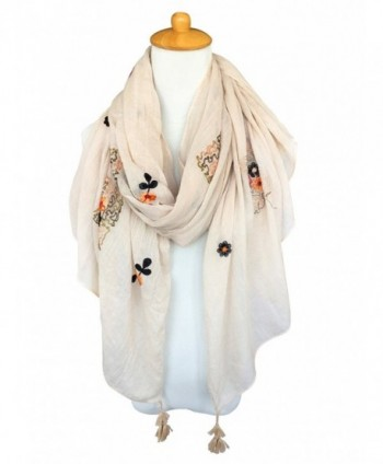 GERINLY Scarves Fragrant Flowers Embroidery
