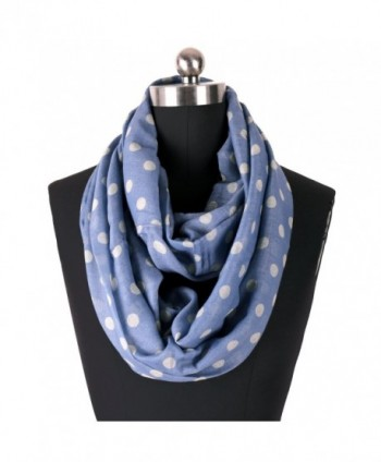 ZESTILK Infinity Scarfs for Women Loop Wraps Polka Dots - Dark Blue and White - CU1868LTMQY
