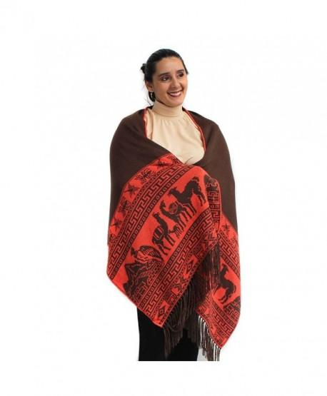 PASHMINA Shawl Wrap Cape Ruana Cloak Reversible MACHU PICCHU made in PERU - Brown - CM12MLLJEX1