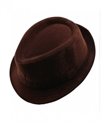 List A Mens Velvet Fedora Hat Selections - Stylish Smooth Trilby Panama Hats - Brown - C9180KUY6AS