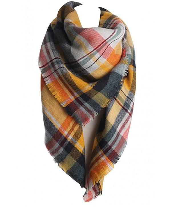 VamJump Women Brand New Winter Plaid Tartan Blanket Pashmina Scarf Wrap Shawl - Yellow - C2126S2O0BF