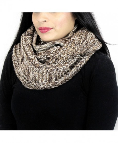 Vintage Tone Knitted Infinity Scarf - Brown and Khaki - CV125VM1ZE3