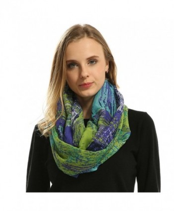 Lo Shokim Womens Mixed Color Artistic Oil Print Infinity Scarf - Blue and Green - C9186CGQGK0
