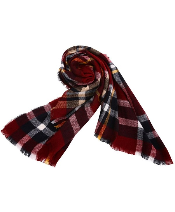 Phyxin Women Tassels Soft Plaid Tartan Scarf Warm Blanket Wrap Shawl Cape - Blush - C5187GTZ9XA