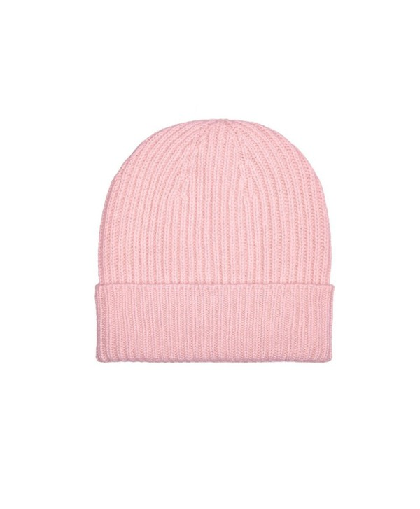 100% Cashmere Beanie Hat in 3ply- Made in Scotland - Pink - CJ187N6OIQQ