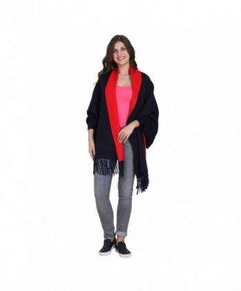 Womens Poncho shawl with sleeves Winter warm scarf fashion Scarves for gifting - Blue-Red - CG1876YX66Q