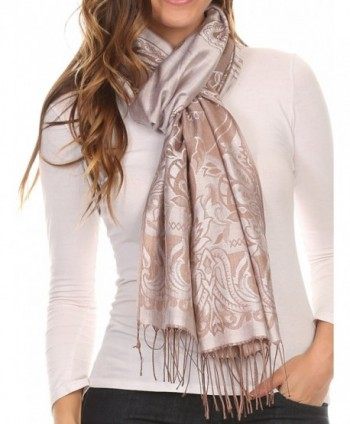 Sakkas Kendall Long Extra Wide Floral Paisley Patterned Pashmina Shawl / Scarf - Silver / Brown - C412LN81UUN