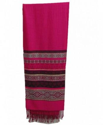 Soft Shimmering Indian Jamwar Silk Pashmina Scarf Wrap Shawl Stole - Fuschia - C611GBUR9H7