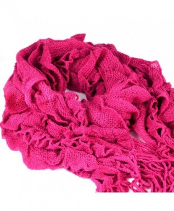 Unique Design Acrylic Scarf Women - Ruffle & Weave - Rose Pink - CK1197URRAV