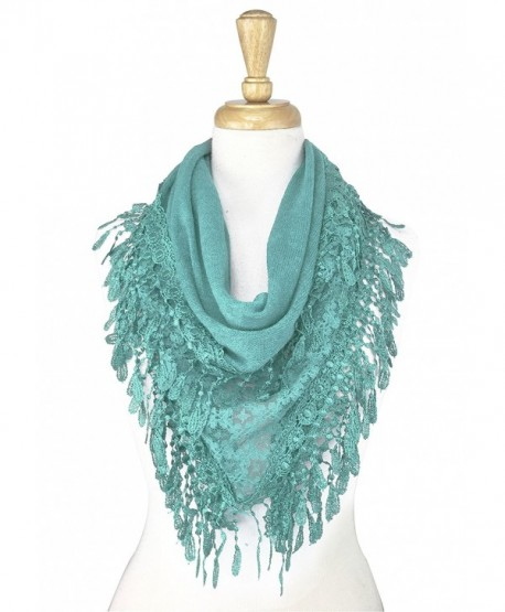 Paskmlna Triangle Knitted Lace Scarf - Yh06-l.blue - CW17YE5AZSN