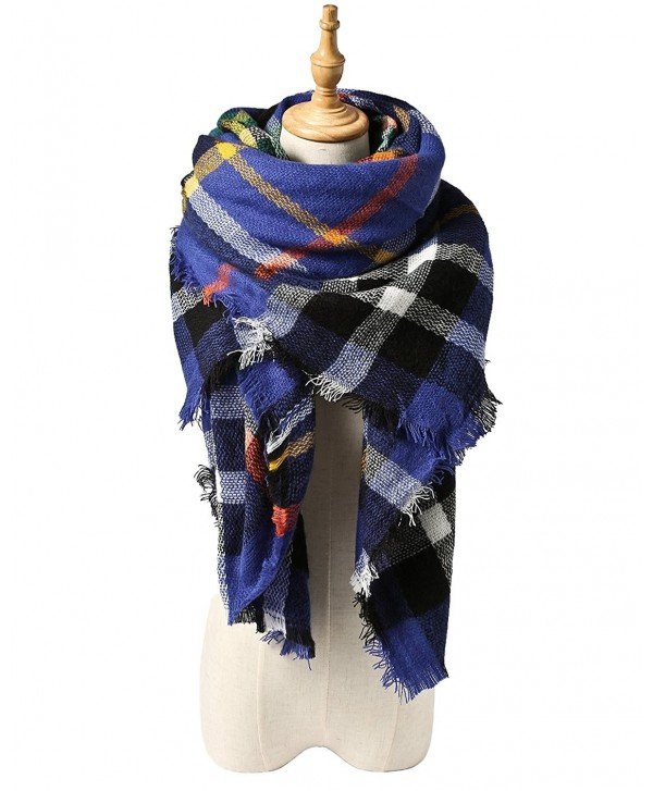 Spring fever Women Colorful Tartan Checked Plaid Shawl Soft Blanket Large Scarf - A08 - CL12LA0HH37