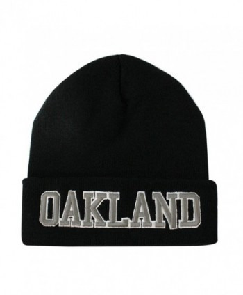 ChoKoLids Classic Cuff Beanie Hat - Black Cuffed Football Winter Skully Hat Knit Toque Cap - Oakland - C3186G2XS4C