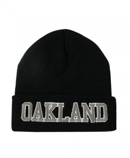 ChoKoLids Classic Cuff Beanie Hat - Black Cuffed Football Winter Skully Hat Knit Toque Cap - Oakland - C3186G2XS4C