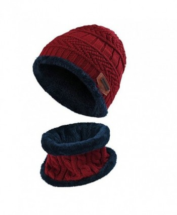 BUUFAN Chic Winter Beanie Outerdoor Hat Scarf Set Warm Knit Hat Thick Knit Skull Cap For Men Women - Wine Red - C91894HG3OL