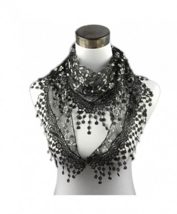 TONSEE Lightweight Triangle Floral Fashion Lace Fringe Scarf Wrap for Women - Black - C612MZPNHS6