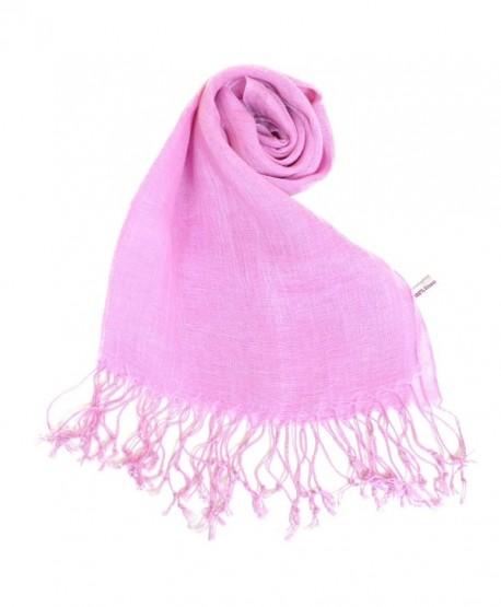 NEW COLORS Women's Linen Scarf Plain All Natural Eco Light Shawl - Pink Violet - C211DCQHATT