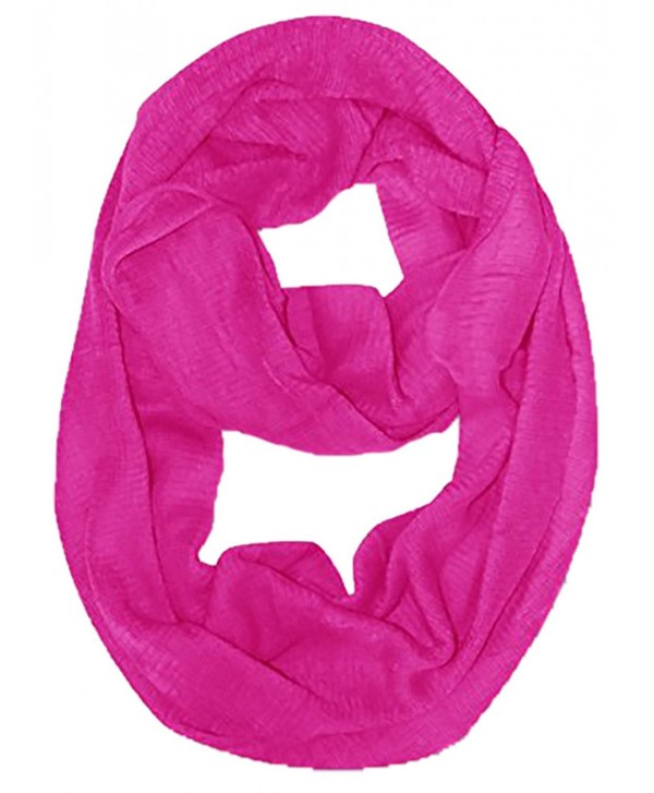 Peach Couture Cashmere feel Gorgeous Warm Two Toned Infinity loop neck scarf snood - Fuchsia - C211Q90MON3