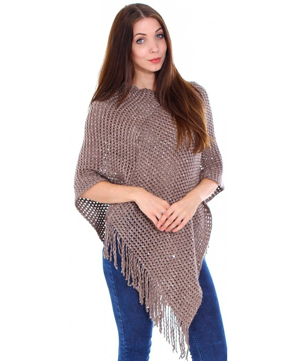 Livingston Women's Soft Cozy Knit Fringed Shawl Wrap w/Sequins - Mocha Brown - CR188KHHU5I