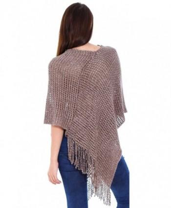 Livingston Ponchos Crochet Fringed Sequins in Wraps & Pashminas