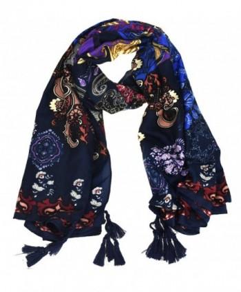 NKTM Twill Cotton Pashmina Shawl Wrap Paisley Pattern Scarf Womens Elephant Print Scarf - Type2 Blue - CI12O8MZ54X