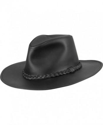 Wilsons Leather Mens Cowboy Leather Hat W/ Braid - Black - C311PRJMYEL