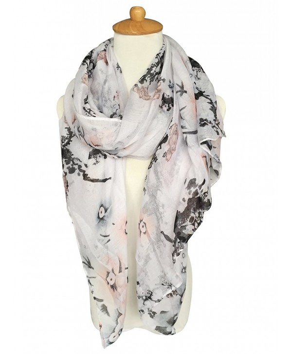 GERINLY Pastel Scarves: Peach Blossom Print Shawl Scarf For Women - New White - CG12NVBHG0S