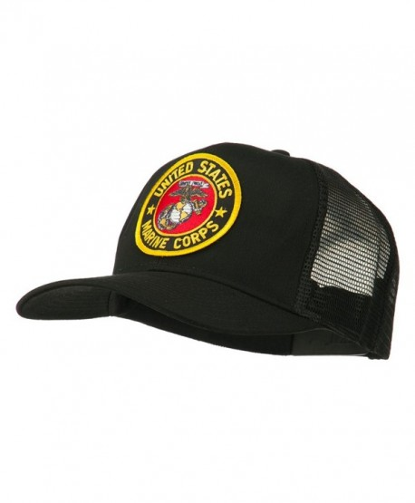 Round US Marine Corps Patched Mesh Cap - Black - CX11RNPO6W5
