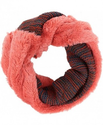 Sakkas Sele Short Two Textured Faux Fur Ribbed Knit Mixed Designed Infinity Scarf - Coral - CL12MXB659Q
