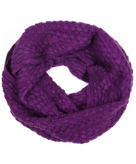 Bluelans Unisex Winter Cable Knit Infinity Circle Snood Scarf Plain Color - Purple - CH12692VDTV